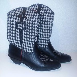 Via Veneto Houndstooth Cowboy Boots Womens Size 7